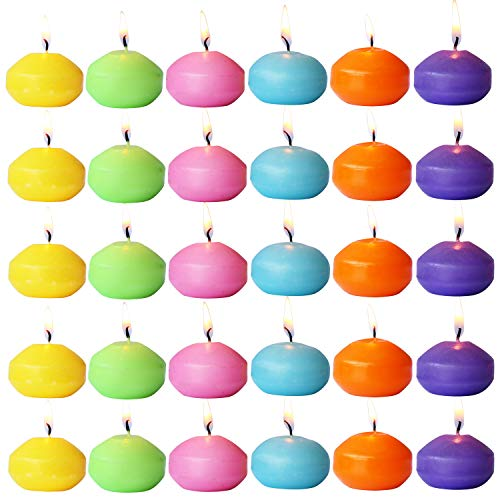 (YUCH Unscented Floating Candles – Set of 30, 6 Color Floating Candles – Cute Elegant Burning Candles – Candles Nice Smooth Flame – Party Accessories)