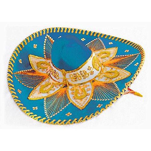 Sombrero Charro (Light Blue and Gold Mariachi Sombrero)