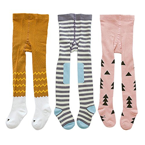 Baby Girls Tights 3-Pack Cotton Legging Pants Infant Toddler Kids 0-12 M #11 Pinky - Mail International Delivery Time