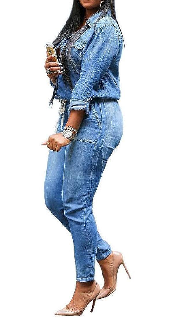 KLJR Women Casual Slim Fit Washed Denim Pockets Long Sleeve Drawstring Jumpsuit Romper