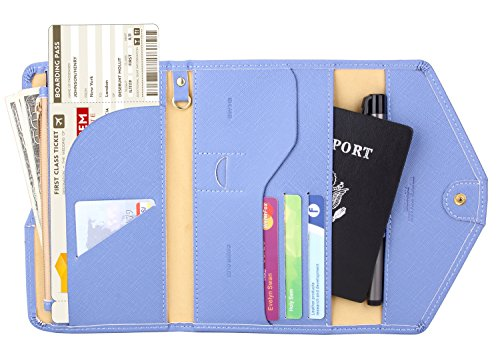 Zoppen Multi-purpose Rfid Blocking Travel Passport Wallet (Ver.4) Tri-fold Document Organizer Holder (#25 Niagara Blue)