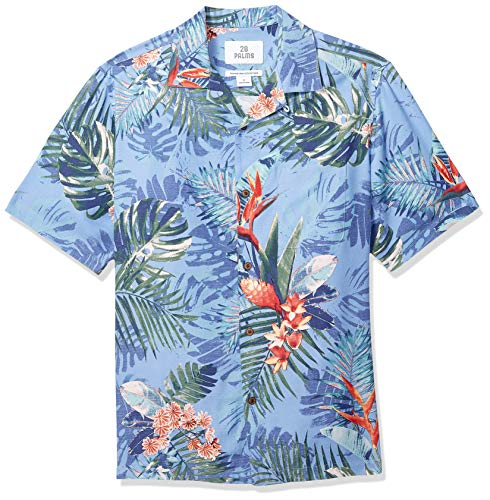 28 Palms Men's Relaxed-Fit 100% Silk Tropical Hawaiian Shirt, Blue Bird of Paradise, Small