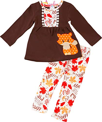 Angeline Boutique Clothing Girls Autumn Fall Colors Leaves Fox Legging Set 7/2XL ()