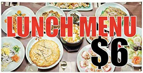 Vinyl Banner Sign Lunch Menu $ 6 Restaurant & Food Outdoor Marketing Advertising White - 60inx144in (Multiple Sizes Available), 10 Grommets, Set of 5