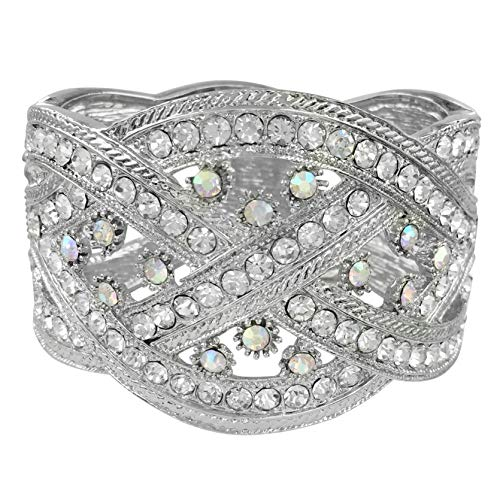 Gypsy Jewels Statement Rhinestone Wide Hinged Bangle Bracelet - Assorted Colors