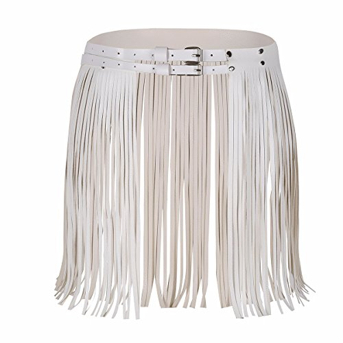 (FEESHOW Women's Faux Leather Adjustable Double Waist Belt Fringed Skirt with Buckles White One Size)