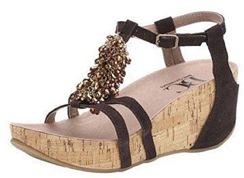 Sandalette von Best Connections Veloursleder Braun