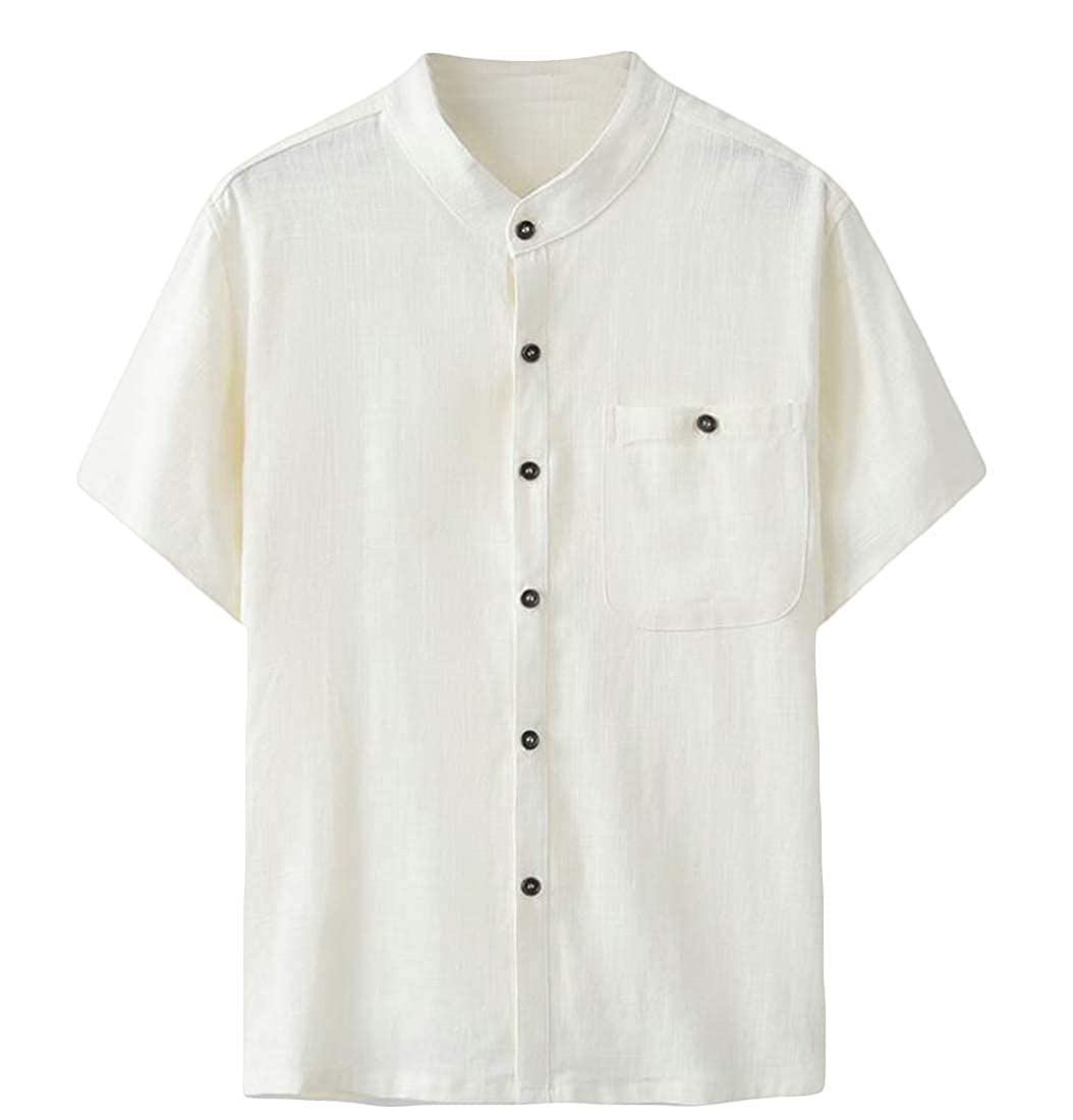 Joe Wenko Mens Button Down Casual Linen Short Sleeve Thin Beach Shirts