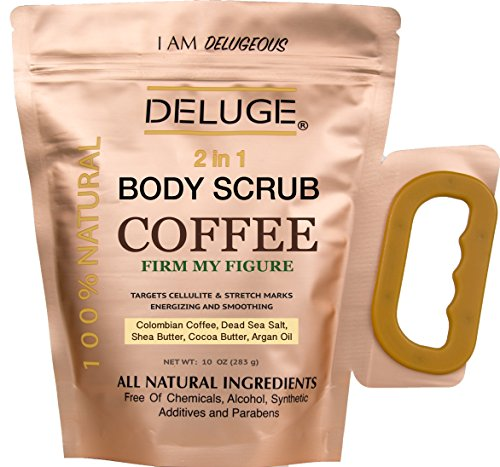 DELUGE - Organic Coffee Body Scrub, Firms and Tones Skin, Reduces Cellulite. Acne, Stretch Marks, Spider Veins, Eczema, Varicose Veins Treatment. 100% Natural 10 OZ. Ultra Nourishing. by DELUGE -
