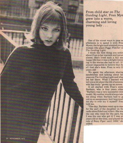 Fran Light - Fran Myers Guiding Light Original clipping Magazine photo 1page 8x8 size Z4261
