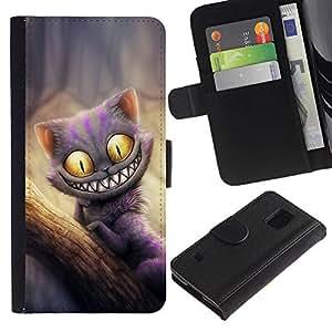 KingStore / Leather Etui en cuir / Samsung Galaxy S5 V SM-G900 / Gato Monster friendly