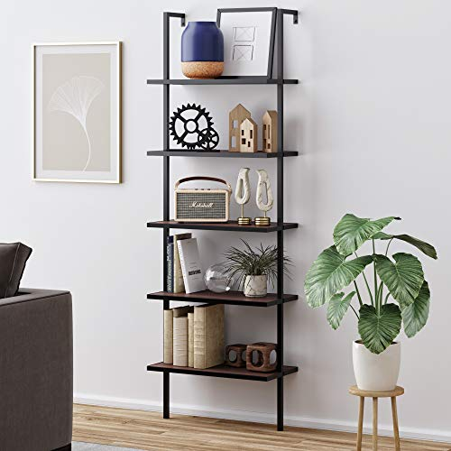 Nathan James 65503 Theo Bookcase, 5-Shelf, Dark Brown/Black