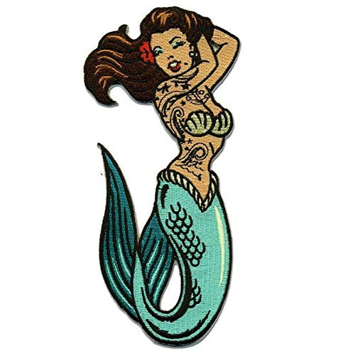 Pin Up Girl Tattoo Mermaid Patch Embroidered Iron On Applique (Best Tattoo Places For Girls)