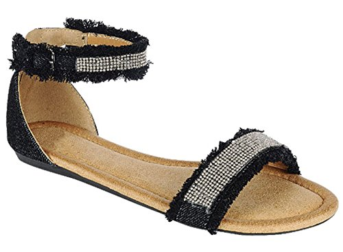 Easter Basket Sale Black Sparkle Glitter Stud No Heel Shoe Ankle Strap Wide Band Peek Toe Women Sandal Modern Stylish Outdoor Slip on Flat for Young Ladies Teen Girl Under 20 Dollars (Size 8, Black) (Sandal Strap Toe Stud)