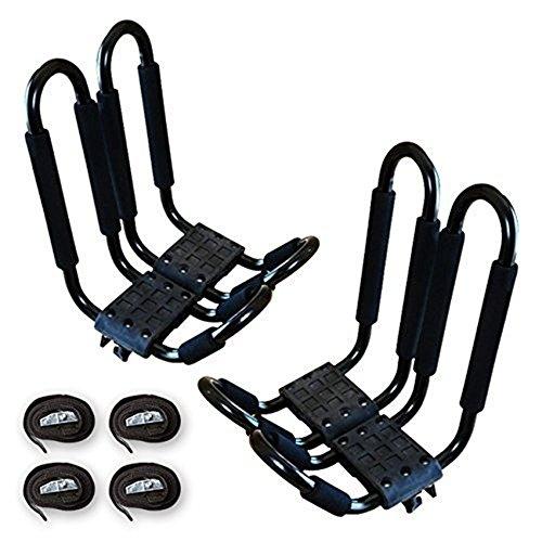 CoCo 2 Pairs Black J-Bar Steel Kayak Rack, - Kayak Racks For Van