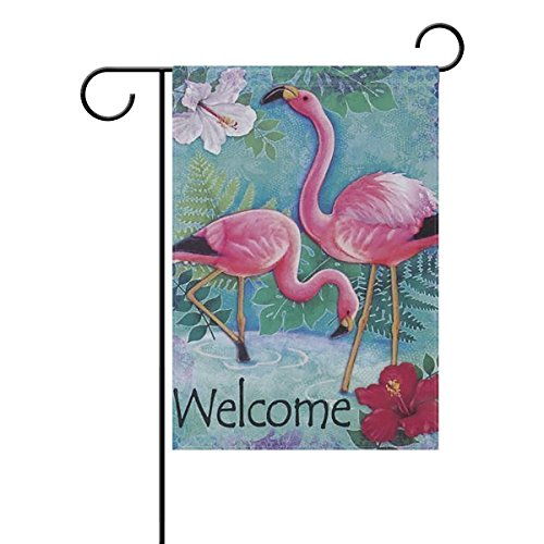 ALAZA Tropical Flamingo Bird Welcome Flowers Polyester Garde