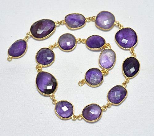 - GemAbyss Beads Gemstone 1 Feet Amethyst Connector Chain, Gold Vermeil Bezel Connectors,Rose Cut Jewelry Connector Chain, Gemstone Connectors Size-13mm to 14x17mm Code-MVG-24276