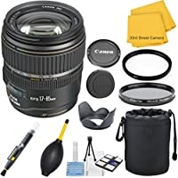 Canon EF-S 17-85mm f/4-5.6 IS USM Bundle + Lens Hood + UV and Polarizer Filter + Case + Cleaning Accessories