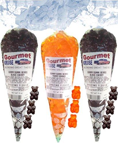 Black Gummy Bears (2) Cherry (1) Energy Orange Gummi (NET WT 33 OZ) Gourmet Kruise Signature Gift Bags