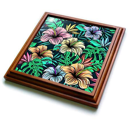 3dRose lens Art by Florene - Hawaiian Fauna Paintings - Image of Blue Pink And Orange Hibiscus Hawaiian Painting On Black - 8x8 Trivet with 6x6 ceramic tile (trv_316041_1)