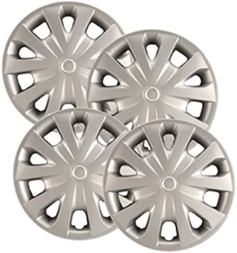 Set of 4 Hubcaps.com Heavy Duty Construction Premium Quality 15 Silver Hubcaps // Wheel Covers fits Toyota Corolla
