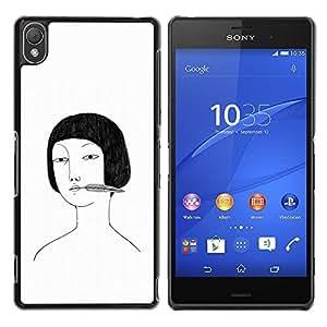 PC/Aluminum Funda Carcasa protectora para Sony Xperia Z3 D6603 / D6633 / D6643 / D6653 / D6616 Asian girl portrait drawing white black / JUSTGO PHONE PROTECTOR