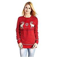 Suéter tipo jersey de copos de nieve de renos de navidad V28 para mujeres (etiqueta M (tamaño 8 de EE. UU.), Rojo-B)