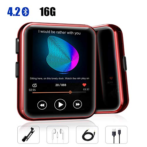 MP3 Player with Clip, Fizzo Portable Sports 16GB MP3 Player with Bluetooth 4.2, HiFi Sound Quality Music Player with FM Radio, Recorder and E-Book, 1.5