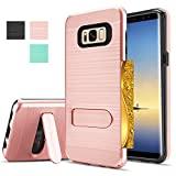 Galaxy Note 8, Samsung Note 8 Case, Galaxy Note 8 Case,AnoKe[Card Slots Wallet Holder]Kickstand Dual Layer Heavy Duty TPU Shockproof Tough Armor Cases for Samsung Galaxy Note 8 / Note 8 KC1 Rose Gold