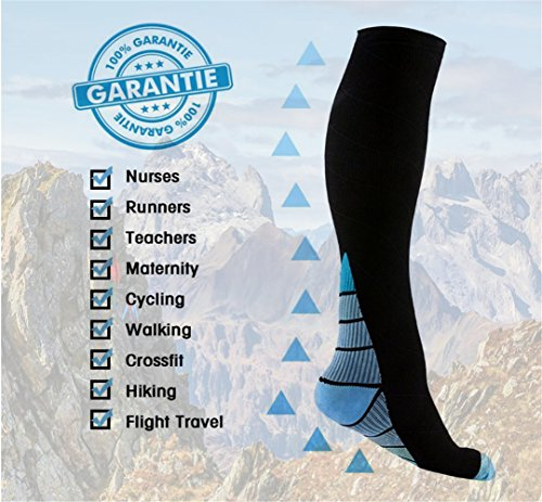 Graduated Compression Socks for Men & Women, BEST Athletic Fit for Running, Cycling, Nurses, Shin Splints, Air Travel,Foot Support & Maternity Pregnancy. Boost Stamina, Circulation, & Recovery -2 Pair by H-Brotaco (Image #4)