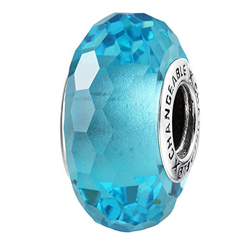 - Murano Glass Charms Beads for Bracelets, Light Blue, 925 Sterling Silver (Big Birthstone Stone)