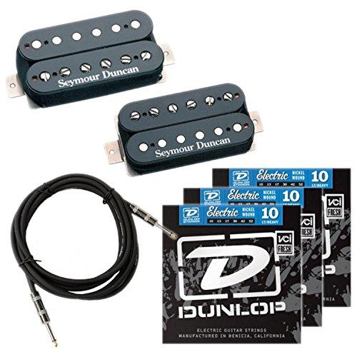 String Pickup Set - Seymour Duncan Hot Rodded Humbucker Pickup Set (SH-4,SH-2n/Black) w/ 3 Sets of Strings and Cable