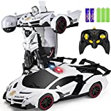 ZENFOLT Transform Car Robot, Remote Control Car One Button Transforms into Robot with Flashing Lights, RC Transforming Police Car Toy with 360 Degree Rotating Drifting