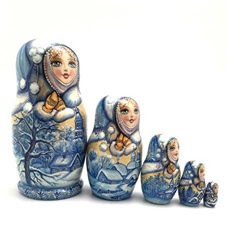 Unique One of the Kind Russian Nesting dolls ''Snow girl'' Hand Carved Hand Painted 5 piece set by BuyRussianGifts (Image #6)