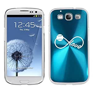Samsung Galaxy S III S3 Aluminum Plated Hard Back Case Cover Infinity Love for Baseball Softball (Light Blue)
