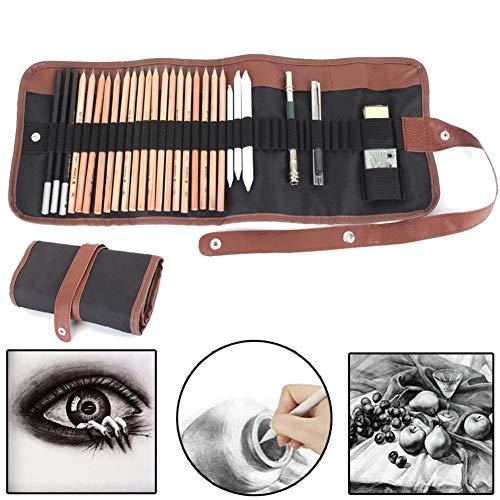 Sketch Pencil Drawing Pencil Set,18Pcs/Set Professional Art Kit Sketching Tools Pencils Charcoal Extender Paper Pen Cutter Eraser Drawing Set