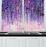 Ambesonne Watercolor Flower Home Decor Kitchen Curtains, Floral Ivy Blossoms from Tree Foggy Vibrant Murky Habitat Artwork, Window Drapes 2 Panels Set for Kitchen Cafe, 55W X 39L Inches, Purple Review