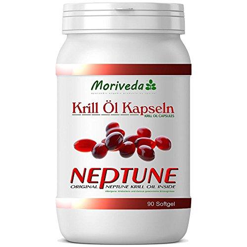 MoriVeda 90 Krillöl Kapseln, 100% reines NEPTUNE Premium Krill Öl - Omega 3,6,9 und Astaxanthin - Markenqualität (1x90)