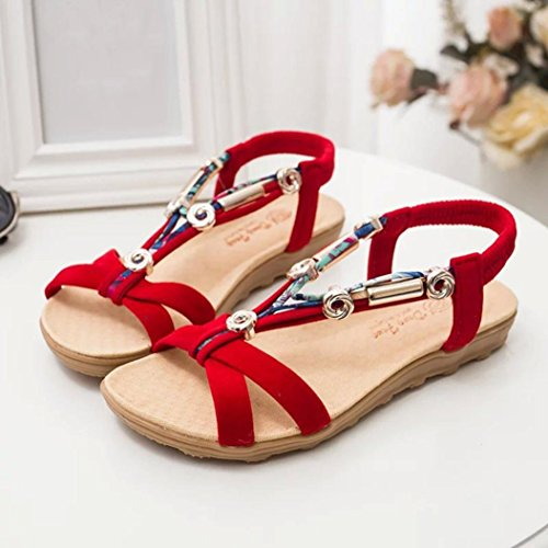 Jamicy Women Girls Fashion Summer Roman Bohemia Sandals Shoes Peep-toe Low Shoes Flip Flops Red jHPrf
