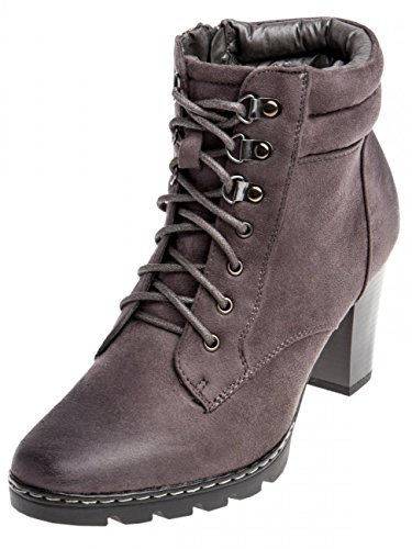 Womens Vintage Ankle Boots SBO055 Dark Grey