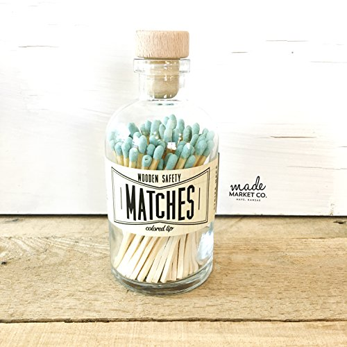 Teal Tip Colored Matches. Match Sticks Decorative Glass Bottle. Farmhouse Home Decor. Unique Gifts for her. Best Seller Most Popular Item Decorative Matches