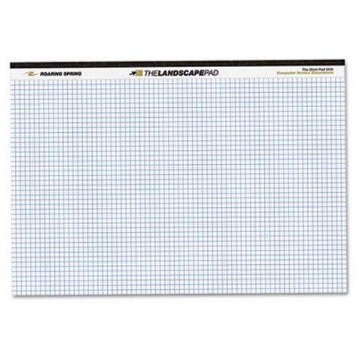 Roaring Spring - Landscape Format Writing Pad, Quad Ruled, 11 x 9-1/2, White, 40 Sheets 74505 (DMi EA