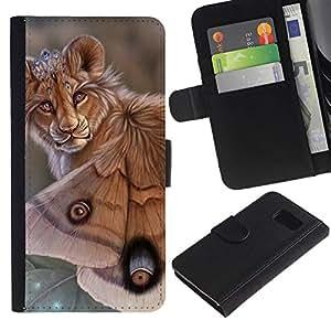 All Phone Most Case / Oferta Especial Cáscara Funda de cuero Monedero Cubierta de proteccion Caso / Wallet Case for Samsung Galaxy S6 // Lion Butterfly Nature Art Biotechnology Eyes