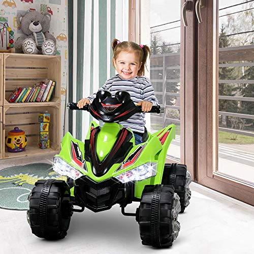(Kidzone Kids 12V Battery Powered Electric 4 Wheel Power Motorized Car with LED Headlights and Treaded Tires, Red, Orange, Pink and Green (Green))