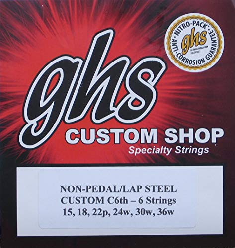(GHS Custom C6th- 6 Lap Steel Guitar Strings Gauges 15-36W - 2 Sets)