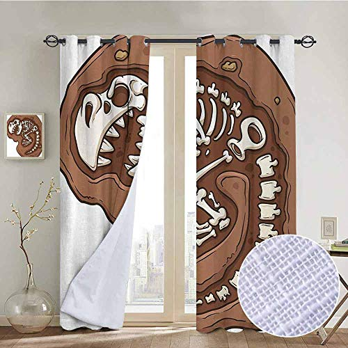 hengshu Dinosaur Shading Insulated Curtain T-Rex Fossil in The Ground Clip Art Style Dead Bones Archeology Prehistory Theme for Living Room or Bedroom W84 x L84 Inch Brown White]()