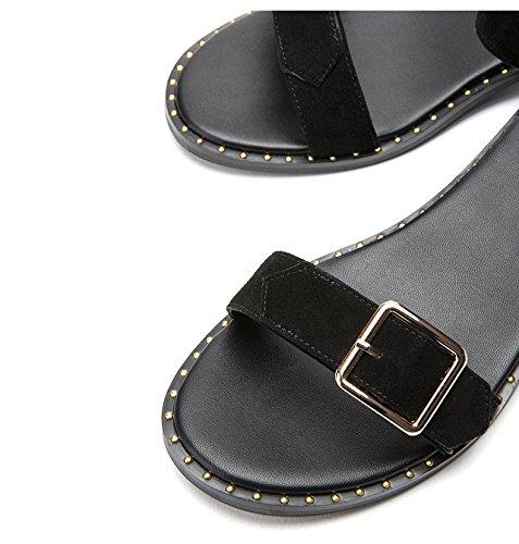 Planas Zapatillas Ocasionales negro Verano Sólido Tacón Tacones Dhg Dulces Sandalias De Color Altos Mujer Bajo 39 Punta Moda qwqI08