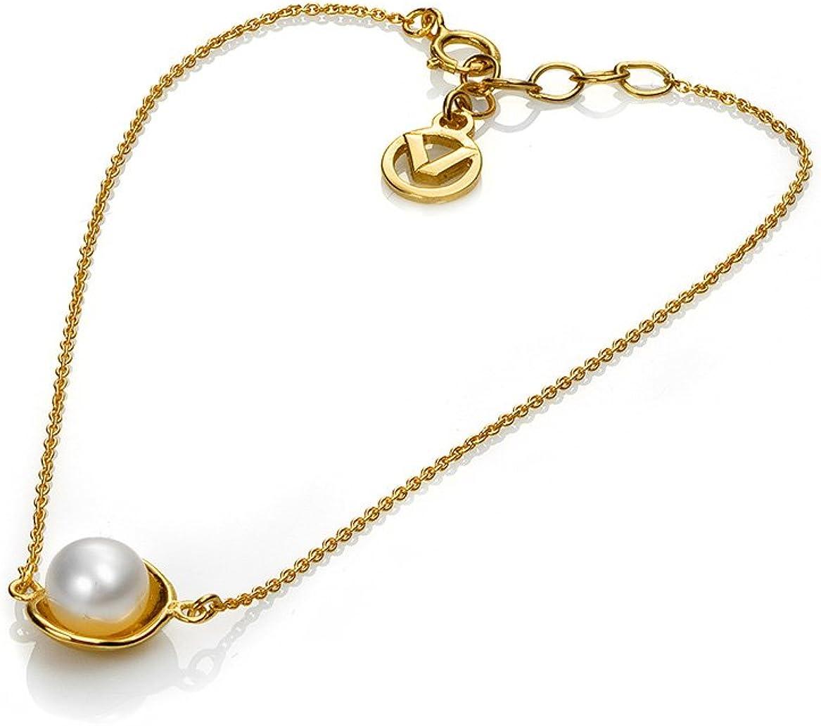 Pulsera Mujer 4031P100-60 dorada con perla blanca