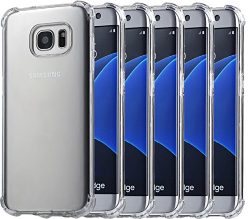 5Pack Galaxy S7 Edge Crystal Transparent Clear Case,Ibarbe Slim Thin Scratch Resistant TPU Rubber Plastic Heavy Duty Protection Shield Bumper Shock Absorption shell Cases For Samsung Galaxy S7 Edge