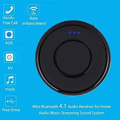 Receptor Bluetooth 4.1 de Audio con Manos Libres,Adaptador Inalámbrico A2DP v1.2 y AVRCP v1.4 con batería recargable de 280mAh, 14 horas de funcionamiento, Adaptador de Jack-Jack para Coche Tablet Movíl Dispositivos IOS y Android MP3